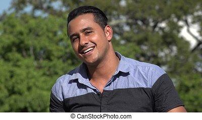 Adult Hispanic Man Kissing