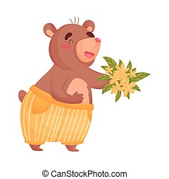 Adult humanized bear with a bouquet of flowers. Vector illustration on white background.