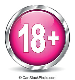 adult icon - vector illustration of adult chrome and pink...