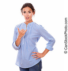 Adult latin woman with ok sign