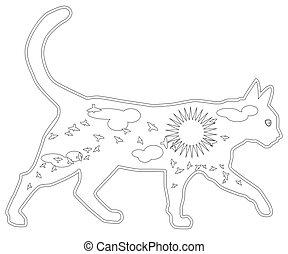 adult., main, encre, livre, dessiné, chat, pattern., illustration, coloration