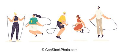 Adult Male and Female Characters Exercising with Jump Rope. Summertime Recreation, Outdoor or Indoor Activity, Sparetime