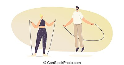 Adult Male and Female Characters in Sportswear Exercising with Jump Rope. Sports Recreation, Outdoor or Active Sparetime
