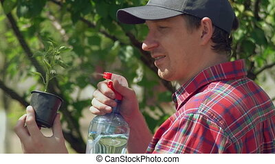 Adult male grower outdoors. - Young caucasian man watering...