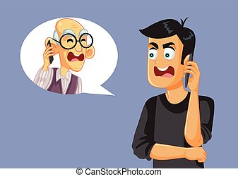Inter-generational conflict between son and elderly dad fighting over the phone