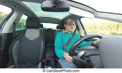 Adult Man Driving Car