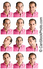Adult man face expressions composite isolated on white ...