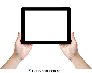 adult man hand holding generic tablet