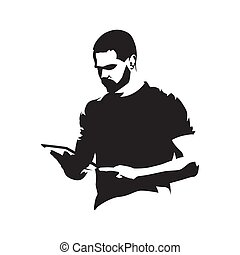 Adult man holding tablet in his hands, abstract isolated vector silhouette