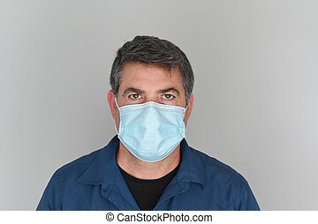 Adult man wearing a face mask