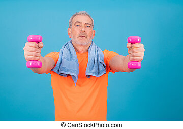 adult man with dumbbells isolated on background