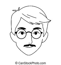 adult man with glasses icon, flat design