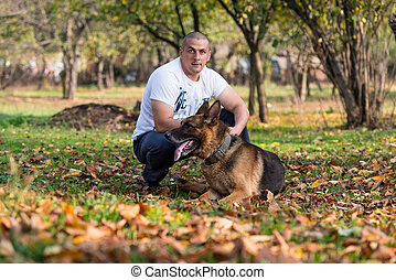 Adult Man With His Dog