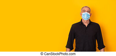 adult man with mask isolated on background