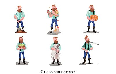 Adult men farmers with animals, produce and tools vector illustration