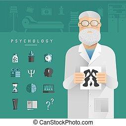 Adult men in a white coat psychologist.