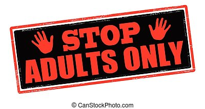 Adult only - Rubber stamp with text adult only inside, ...