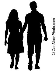 Adult people - Couple of young guy and girl on white...