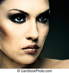 Adult pretty woman stylish portrait. Skin texture saved