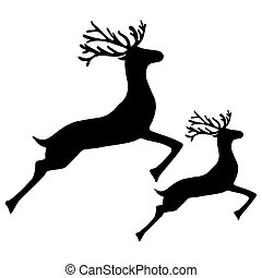 Adult Reindeer and baby deer jumping on a white background, ...