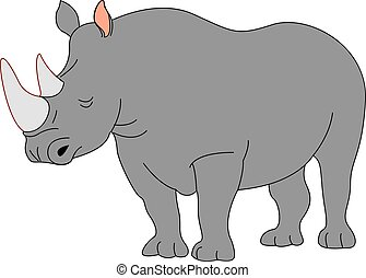 Adult rhinoceros, illustration, vector on white background.