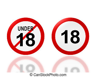 adult sign and under 18 age sign - the notice of 18 adult...