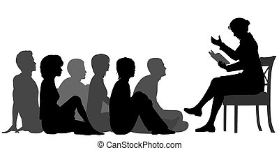 Adult storytime - EPS8 editable vector silhouettes of a...