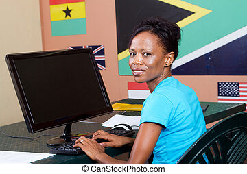adult student learning computer - adult african american...