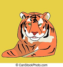 Adult tiger cartoon on a white background.