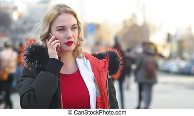 Adult Woman Calling on the Phone - Portrait of young adult...