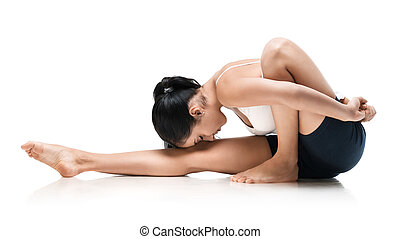 woman in marachiasana yoga position - adult woman in...