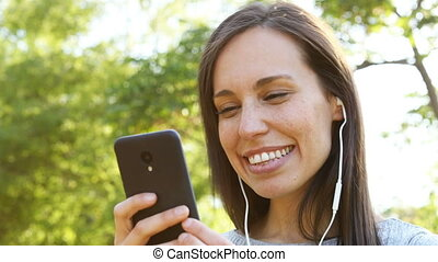 Adult woman listening to music and dancing - Happy adult...