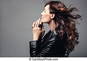wavy hair - adult woman profile long wavy hair in motion,...