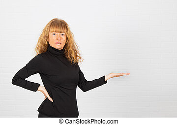 adult woman showing white space