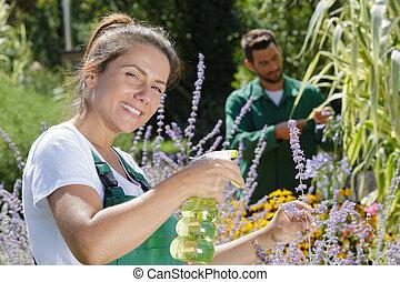 adult woman spraying plants in garden