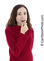 Adult woman taking pill