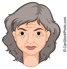 Adult woman with aged skin illustration