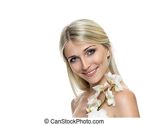 Adult woman with beautiful face and white flowers.