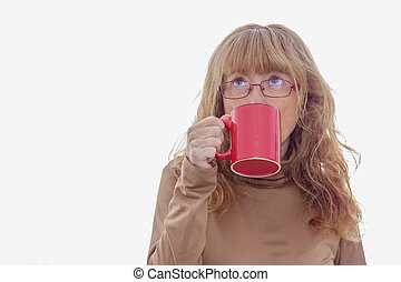 adult woman with coffee cup isolated on white background