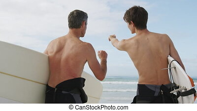adulte, activités, apprécier, extérieur, père, fils, ensemble, jeune