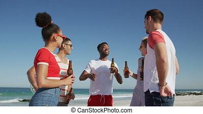 adulte, amis, dehors, jeune, plage, pendre, ensemble, 4k