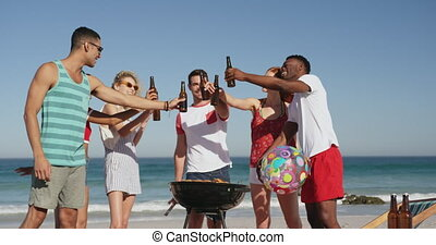 adulte, avoir, barbecue, plage, 4k, amis, jeune