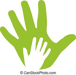adulte, et, gosse, mains, famille, icône