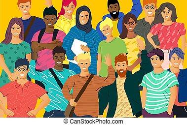 adulte, jeunes, multiculturel, foule