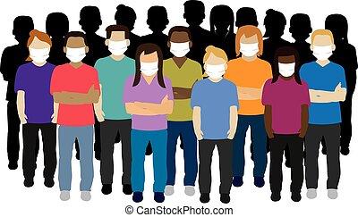 adulte, masque, groupe, jeune, figure, porter
