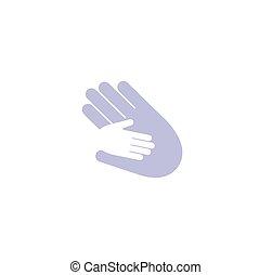 adulte, paumes, signe., symbole., tenue, logo., isolé, vecteur, soin, négatif, gosse, mains, space., adoption, père, illustration., résumé, bleu, parent, icon., orphelinat, enfant, famille, logotype., blanc