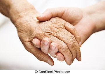 adulte, portion, personne agee, dans, hôpital