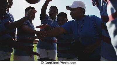 adulte, rugby, équipe, entraîneur, femme, jeune