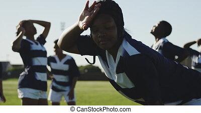 adulte, rugby, équipe, femme, jeune