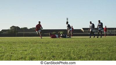 adulte, rugby, allumette, femme, jeune
